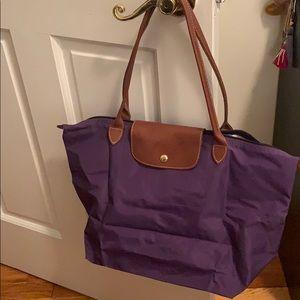 Purple, large, Longchamp tote bag